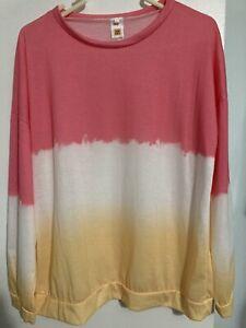 Womens  Long Sleeve Sweatshirt Tie Die Tye Dye Pink White Yellow Large Festival