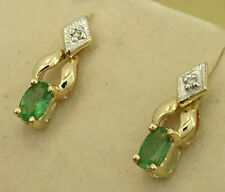 s Genuine SOLID 9K 9ct Yellow Gold NATURAL EMERALD & Diamond Earrings