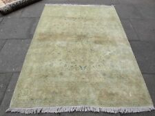 Fine Old Hand Made Traditional Persian Wool Faded Cream Distressed Rug 201x150cm