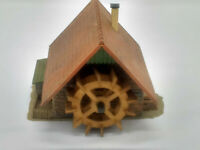 HO Scale European Cottage w/ Water Wheel - Assembled Building