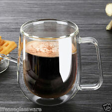 Hot Double Wall Glass Milk Coffee Tea Warmer Cup Mugs Bar Home Office Water Cups