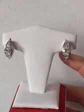 Beautiful Oval & Pear Shaped CZ  Huggie Hoop Silver Earrings
