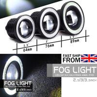 Pair Angel Eyes Halo Car White Fog Lights Lamp Projector DRL COB LED Bulbs ah01