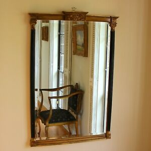 Vintage Empire Style Black and Gold Beveled Wall Mirror