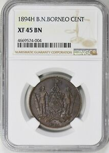 British North Borneo 1894-H Cent NGC XF-45 BN