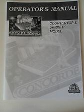Original JVL Concorde 3 Plus Operator's Manual for Countertop & Upright Models