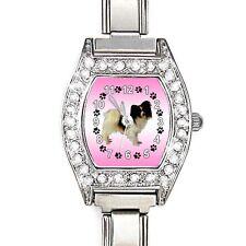 Papillon Dog CZ Ladies Stainless Steel Italian Charm Bracelet Wrist Watch BJ1107