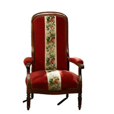 Antique Armchair, French Louis Philippe High Back Red Chair, 1800s, Gorgeous!