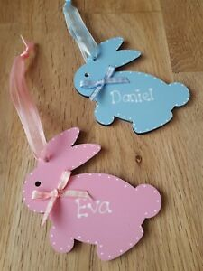 Personalised Easter Bunny Rabbit wooden gift tag Egg Hunt sign plaque