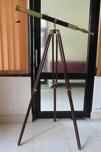 Antique Brass Telescope Black Leather 39 Inch Full Size On a Wooden Tripod Stand