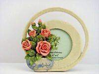 Lot of 2 4x4 Picture Frame Floral Flowers Round Roses Margarita's Design