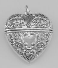 Sterling Silver Antique Style  Heart Locket Box -  Pendant - Free Shipping