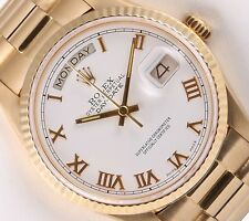 Rolex Day-Date 18k President 18238-Double Quick 36mm Watch-White Roman Dial