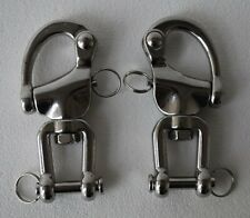 """Pair of 5"""" large 316 stainless steel snap shackles with safety closures"""