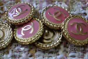 8 Five Stamped  Chanel Buttons LOGO  CC pink 0,8 inch 21 mm gold cc 8 pcs