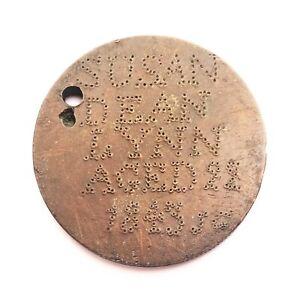 George III Penny Keepsake Stippled  SUSAN DEAN LYNN AGED 22 1843 JC