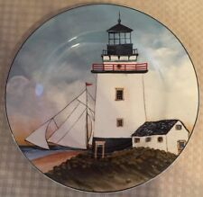 "David Carter Brown Sakura ""By The Sea"" White Lighthouse Salad Plate"