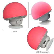 Mini Enceinte Bluetooth Sans fil Mushroom Champignon Ventouse / Rouge