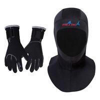 Neoprene Scuba Diving Hood 3MM Wetsuit Diving Cap & Gloves Thermal Mittens Glove