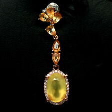NATURAL YELLOW OPAL CITRINE & CZ PENDANT 925 SILVER STERLING