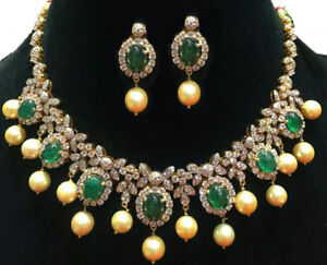 HEAVY LOOK NATURAL EMERALD CABOCHON DESIGNER NECKLACE EARRING WITH PEARL HANGING