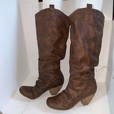 Blowfish Womens Boots GREAT Malibu Tall Cowboy Cowgirl Brown Mid Calf 8 Heel USA