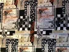 Fat Quarter Ruse Ou Traiter Halloween Gothique choses 100/% tissu de coton