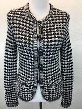 S30 Trina Turk Sz PS Alpaca Blend Black White Knit Cardigan Sweater Peru
