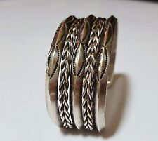 Large Vintage Sterling Silver Beautifully Detailed Cuff Bracelet 45G
