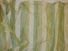 "Decorator Silk Fabric Wide Stripes Green Partially Sewn Drapery 106"" W X 33"" L"