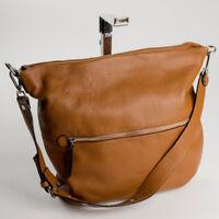 Ital. edle Damentasche Schultertasche Crossbody Bag echt Leder Cognac 098C