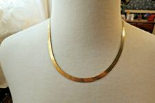"14k Herringbone Chain Milor Italy Yellow Gold Necklace 18"" Long 11.54g 6mm Nice"