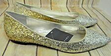 ZARA Woman Pointed Toe Gold and Silver Glitter Ballet Flat Shoes New 7.5