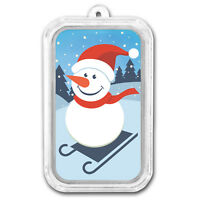 1 oz Silver Colorized Bar - APMEX (Sledding Snowman) - SKU#156894