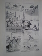 Sketches at Cowes Isle of Wight1898 old prints Ref T