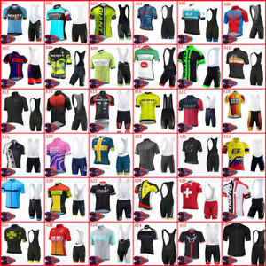 Mens Cycling Jersey Bib Shorts Set Short Sleeve Bike Outfits Outdoor Sports Suit