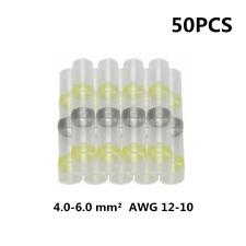 50pcs Solder Seal Heat Shrink Wire Connectors Butt  Terminal Waterproof AWG12-10