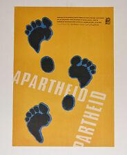 1969 Cuban ORIGINAL Political Poster.Anti-Apartheid.Footprints.South African art