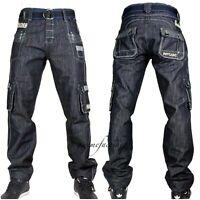Peviani Mens g combat jeans, cargo black star denim, hip hop  straight-loose apl