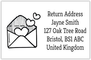 260 x Envelope Hearts Mini Address Label Stickers Personalised Custom