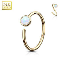 14K GOLD Opal Hoop NOSE EAR RINGS Cartilage Helix Daith Rook Piercing Jewelry