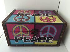 Peace Symbol Storage Box Hippie Boho 60s Art DesignWood Faux Leather Metal
