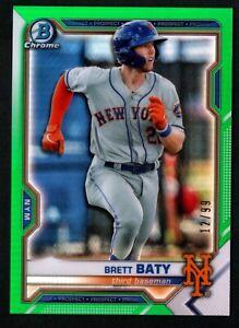 Brett Baty 2021 Bowman Chrome Prospect Green Refractor RC 12/99 New York Mets