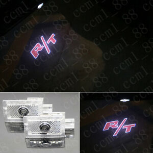 2x Red R/T Logo LED Door Ghost Laser Projector Puddle Light HD For Dodge Charger