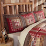 TACOMA Luxury King Sham Log Cabin Block Lodge Brown/Red Plaid Rustic VHC Brands