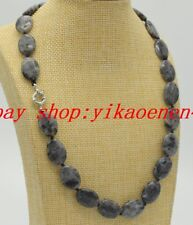 "Natural 13x18mm Black Gray Labradorite Oval Gemstones Necklace 18""AAA"