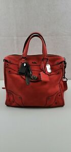AUTH Coach Rhyder 33 Red Suede Bag nice