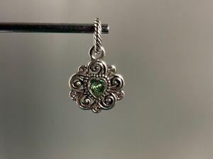 🌸Brighton Silver Flower Heart Light Green August Birthstone Charm NWOT🌸