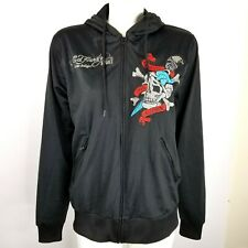 Ed Hardy Sport by Christian Audigier Mens M Hoodie Death or Glory Zip Front