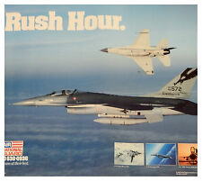 "ORIGINAL AIR NATIONAL GUARD 'RUSH HOUR' F-16 F16 FIGHTER JET POSTER 20X19"" USED"